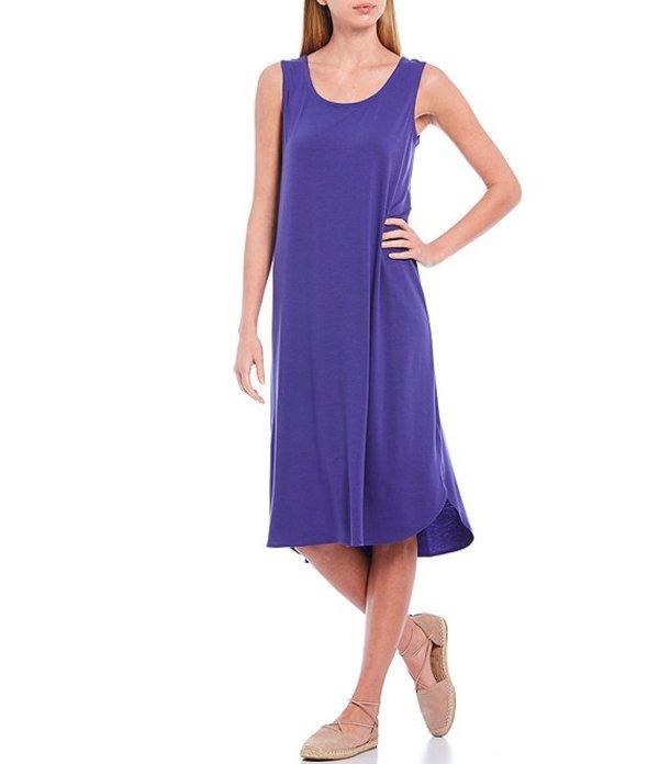 エイリーンフィッシャー レディース ワンピース トップス Fine Tencel Jersey Scoop Neck Sleeveless Midi Shift Dress Athena