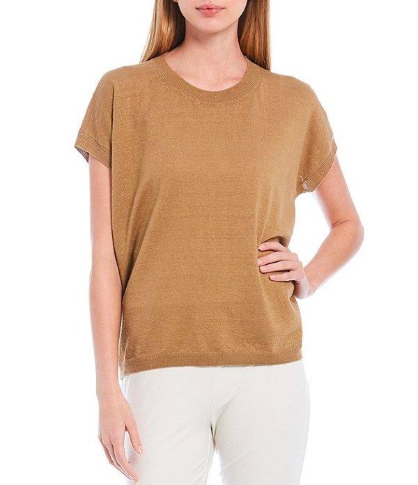 エイリーンフィッシャー レディース Tシャツ トップス Organic Linen Cotton Crew Neck Cap Sleeve Top Chestnut