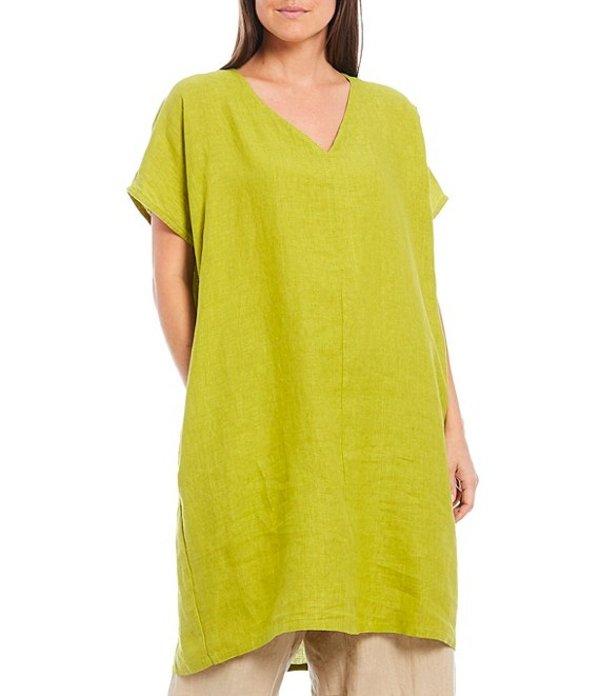 ブライン ウォーカー レディース シャツ トップス Cross Dyed Linen V-Neck Short Sleeve Regan Tunic Prato