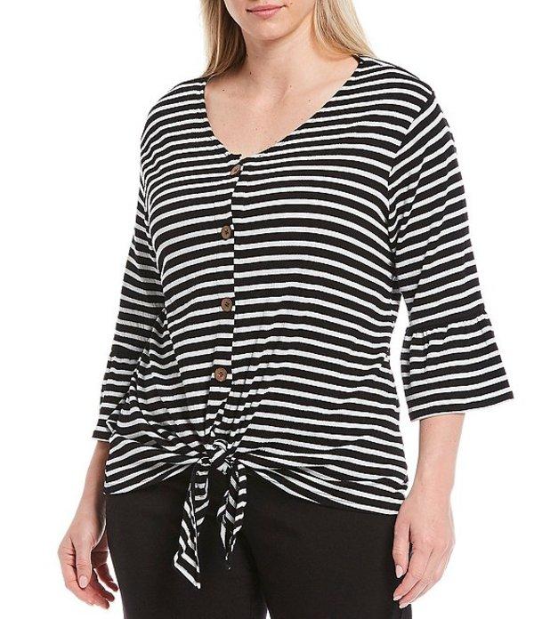 ルビーアールディー レディース Tシャツ トップス Plus Size Stripe Textured Knit V-Neck Button-Tie Front Top Black Multi