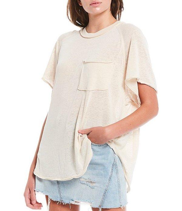 フリーピープル レディース Tシャツ トップス Kyoto Knit Short Sleeve Pocket Tee Cream Combo