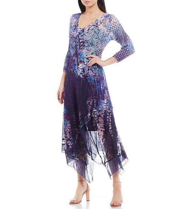 コマロフ レディース ワンピース トップス Mixed Print 3/4 Sleeve V-Neck Asymmetric Hem Midi Dress Brilliant Vince