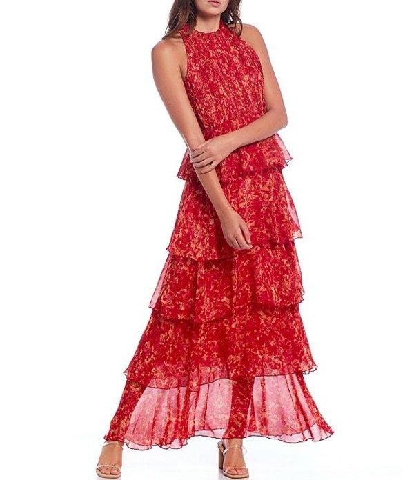 ルーシーパリ レディース ワンピース トップス Floral Print Sleeveless Tiered Halter Maxi Dress Pink Multi