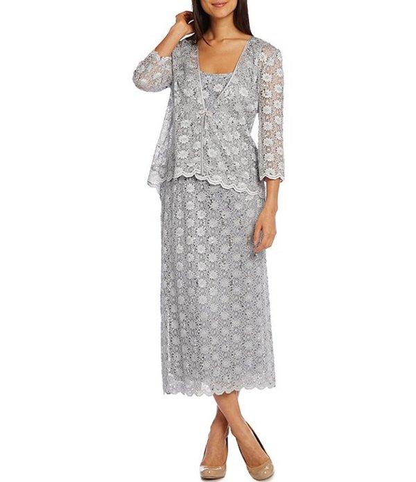 アールアンドエムリチャーズ レディース ワンピース トップス Stretch Lace Scallop Hem Tea Length Two-Piece Jacket Dress Silver