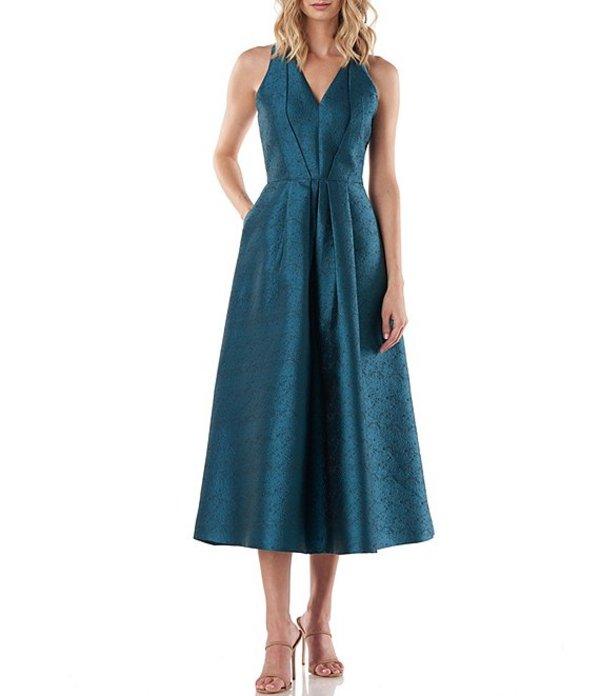 ケイ アンジャー レディース ワンピース トップス Phoebe V-Neck Sleeveless Textured Jacquard Midi Party Dress Turkish Blue