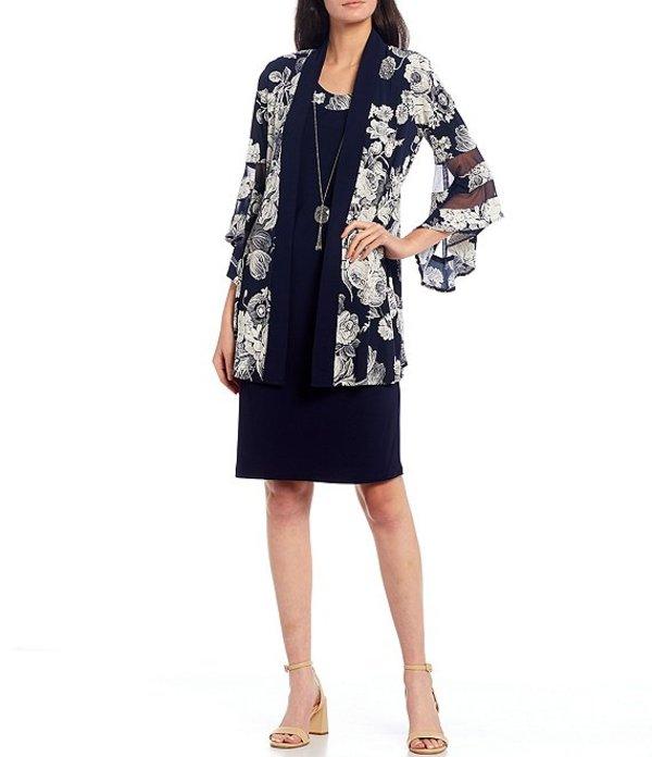 アールアンドエムリチャーズ レディース ワンピース トップス 2-Piece Floral Print Bell Sleeve Jacket Dress Navy/White