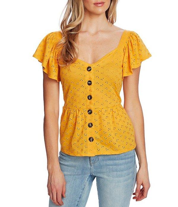 セセ レディース Tシャツ トップス Short Sleeve Eyelet Button Front Knit Peplum Waist Top Sunburst