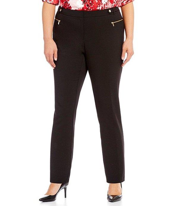 カルバンクライン レディース カジュアルパンツ ボトムス Plus Size Luxe Stretch Side Waist Snap Tab Zip Pocket Ankle Pants Black