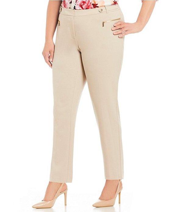 カルバンクライン レディース カジュアルパンツ ボトムス Plus Size Luxe Stretch Side Waist Snap Tab Zip Pocket Ankle Pants Latte