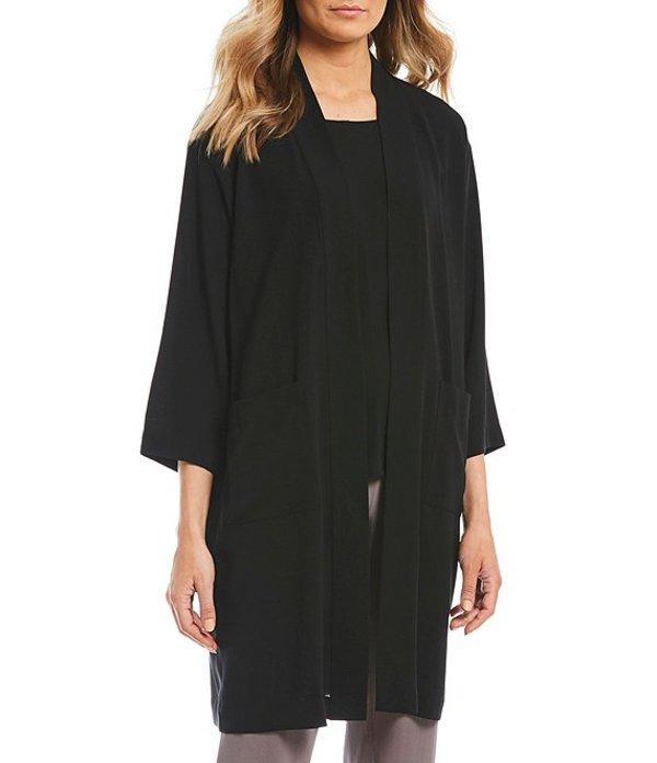 エイリーンフィッシャー レディース カーディガン アウター Open Front Long Silk Kimono Black
