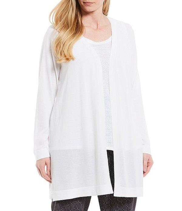 エイリーンフィッシャー レディース カーディガン アウター Plus Size Simple Long Open Front Cardigan White