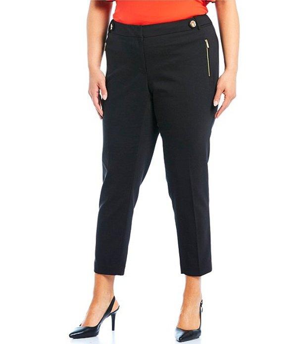カルバンクライン レディース カジュアルパンツ ボトムス Plus Size Stretch Side Waist Snap Tab Zip Pocket Ankle Pants Black