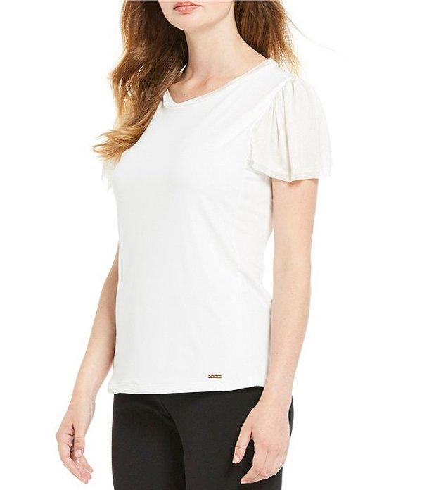 カルバンクライン レディース Tシャツ トップス Matte Jersey Textured Knit Trim Top Soft White