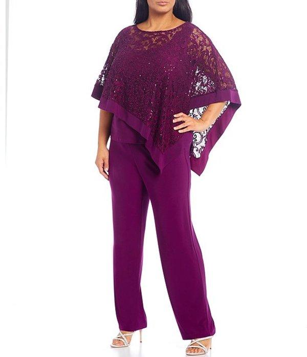 アールアンドエムリチャーズ レディース カジュアルパンツ ボトムス Plus Size Sequin Lace Jersey Knit 3-Piece Poncho Pant Suit Mulberry