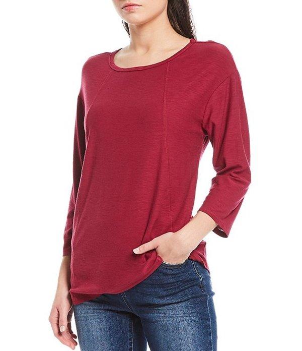 ウエストバウンド レディース Tシャツ トップス Petite Size 3/4 Sleeve Seam Solid Cotton Blend Tee Red Plum