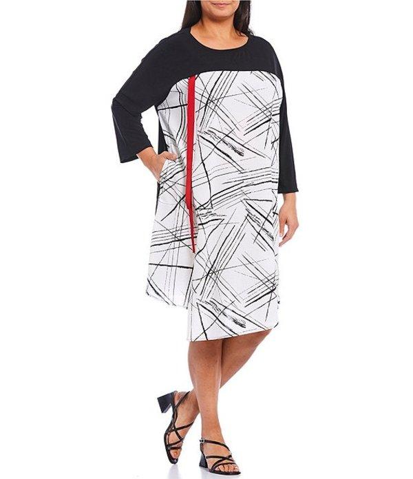 アイシーコレクション レディース カジュアルパンツ ボトムス Plus Size Color Contrast Geo Print Bateau Neck 3/4 Sleeve Red Tape Shift Dress Black/White