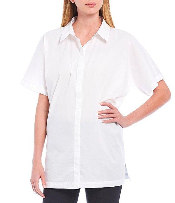 エイリーンフィッシャー レディース カットソー トップス Petite Size Organic Cotton Stretch Lawn Classic Collar Short Sleeve Long Shirt White