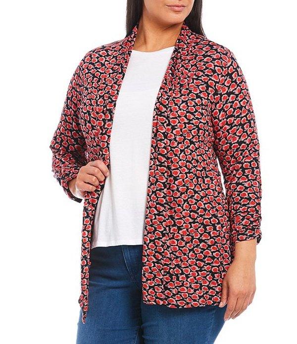 ボベー レディース ジャケット・ブルゾン アウター Plus Size Abstract Rose Print Shawl Collar 3/4 Sleeve Open Front Cardigan Black/Red