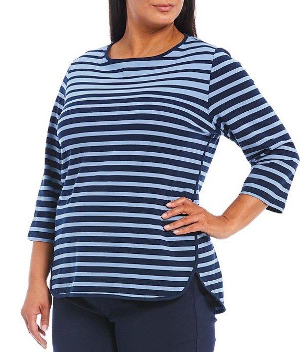 ルビーアールディー レディース Tシャツ トップス Plus Size Yarn-Dye Stripe Round Neck 3/4 Sleeve Hi-Low Knit Top Chambray Multi