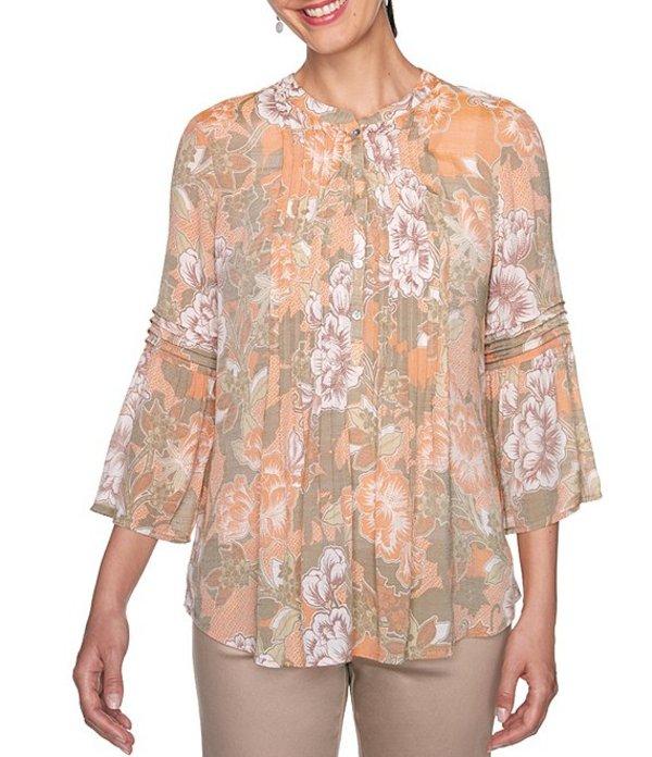 ルビーアールディー レディース シャツ トップス Petite Size Floral Print Silky Slub Pintuck Front Detail 3/4 Flounce Sleeve Top Spice Multi