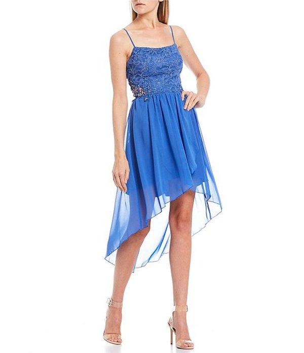 シティヴァイブ レディース ハーフパンツ・ショーツ ボトムス Lace Bodice Crochet Side High-Low Dress Blue/Silver