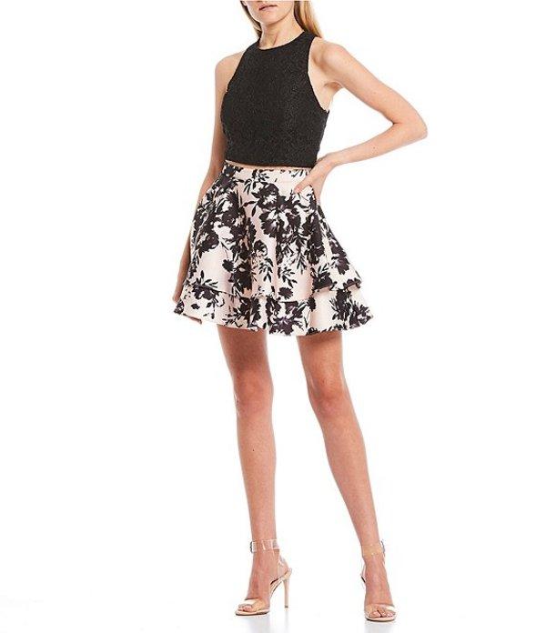 シティヴァイブ レディース ワンピース トップス Glitter Lace Top with Floral Skirt Two-Piece Dress Black/Blush