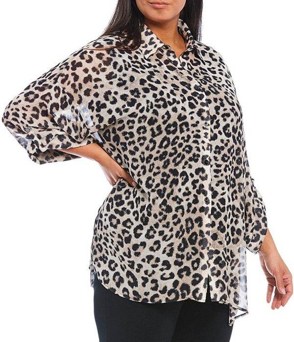 ミンウォン レディース ジャケット・ブルゾン アウター Plus Size 3/4 Roll-Tab Sleeve Shirt Collar Cheetah Print Duster Java/Black/Creme Brulee