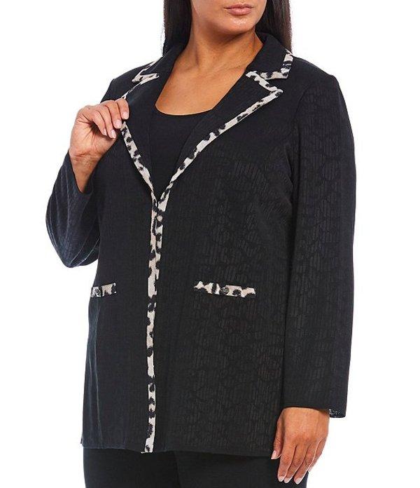 ミンウォン レディース ジャケット・ブルゾン アウター Plus Size Cheetah Print Contrast Trim Notch Lapel Jacket Black/Creme Brulee/Java