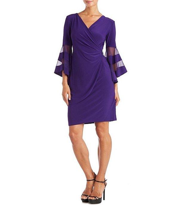アールアンドエムリチャーズ レディース ワンピース トップス Petite Size Mesh Trim 3/4 Bell Sleeve Jersey Faux Wrap Dress Iris