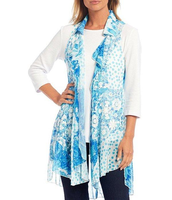 送料無料 期間限定で特別価格 サイズ交換無料 ディスカウント マルチプルズ レディース アウター ベスト Multi Patchwork Print Embroidered Open-Front Vest Detail Onionskin Ruffle Collar Cascade