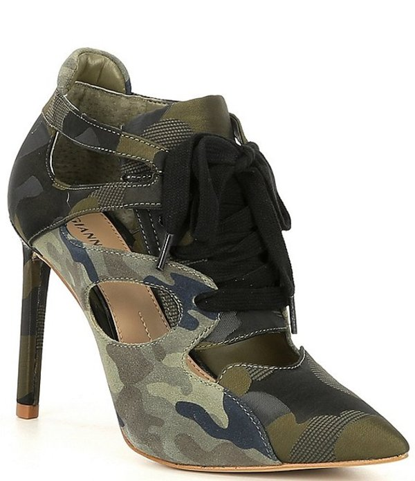 ジャンビニ レディース ヒール シューズ Jazzlynn Camo Lace-Up Shooties Classic Olive