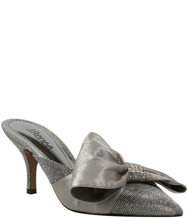 ジェイレニー レディース ヒール シューズ Elonna Glitter Bow Detail Pointed Toe Mules Pewter