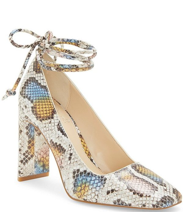 ヴィンスカムート レディース ヒール シューズ Damell Snake Print Leather Ankle Wrap Pumps Multi Snake