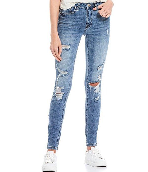 YMIジーンズ レディース デニムパンツ ボトムス Cross Hatch Mid Rise Destructed Skinny Jeans Blue