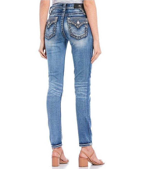 ミスミー レディース デニムパンツ ボトムス Border Embellished Flap Pocket Skinny Jeans Medium Blue