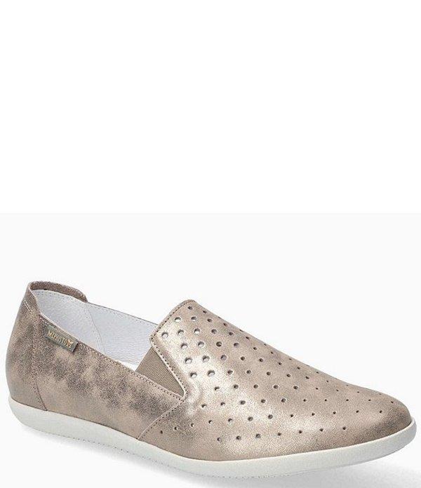 メフィスト レディース スリッポン・ローファー シューズ Flat Perforated Leather Casual Shoes Dark Taupe