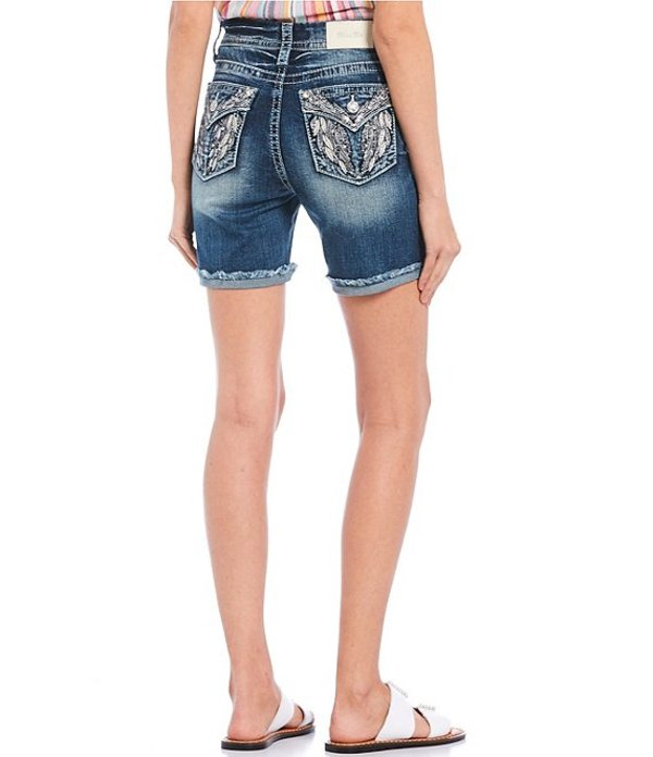 ミスミー レディース ハーフパンツ・ショーツ ボトムス Frayed Hem Embellished Wing Pocket Shorts Medium Blue