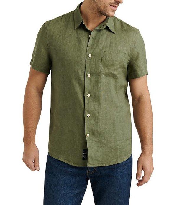 ラッキーブランド メンズ シャツ トップス Short-Sleeve San Gabriel Linen Shirt Green