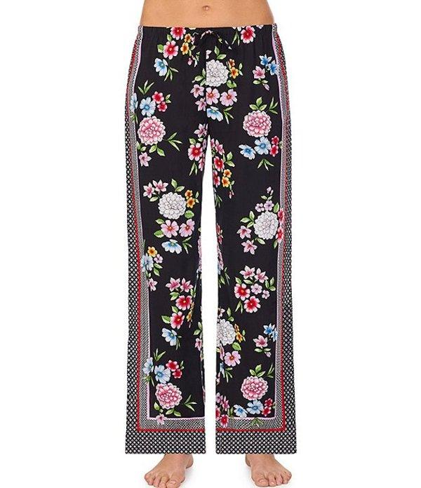 ケンジー レディース カジュアルパンツ ボトムス Floral Print Wide Leg Woven Sleep Pants Black Print