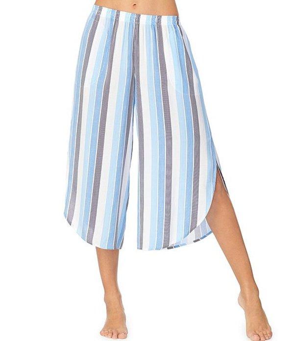 ダナキャラン レディース カジュアルパンツ ボトムス Striped Print Woven Wide Leg Capri Sleep Pants White Stripe