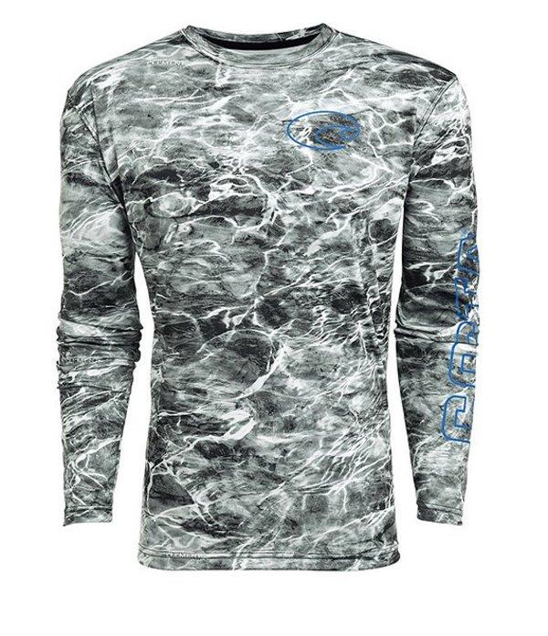 コスタ メンズ シャツ トップス Mossy OakR Elements Tech Long-Sleeve Graphic T-Shirt Gray
