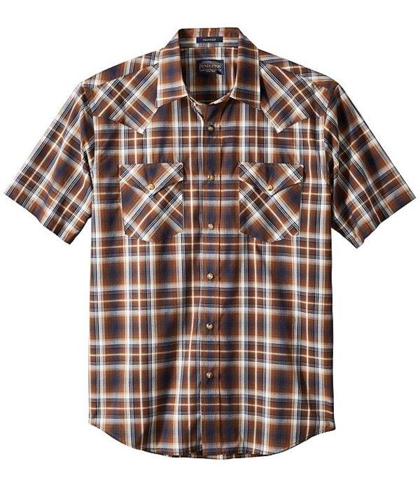 ペンドルトン メンズ シャツ トップス Frontier Short-Sleeve Woven Shirt Navy/Brown