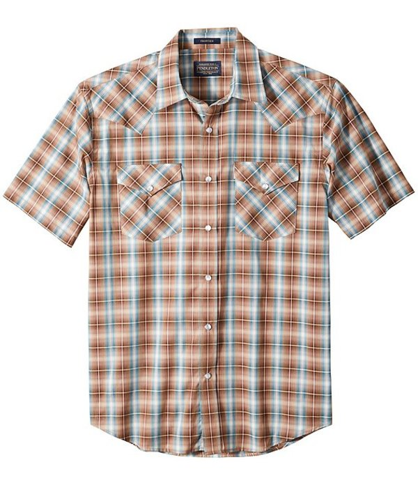 ペンドルトン メンズ シャツ トップス Frontier Short-Sleeve Woven Shirt Tan/Brown/Turquoise