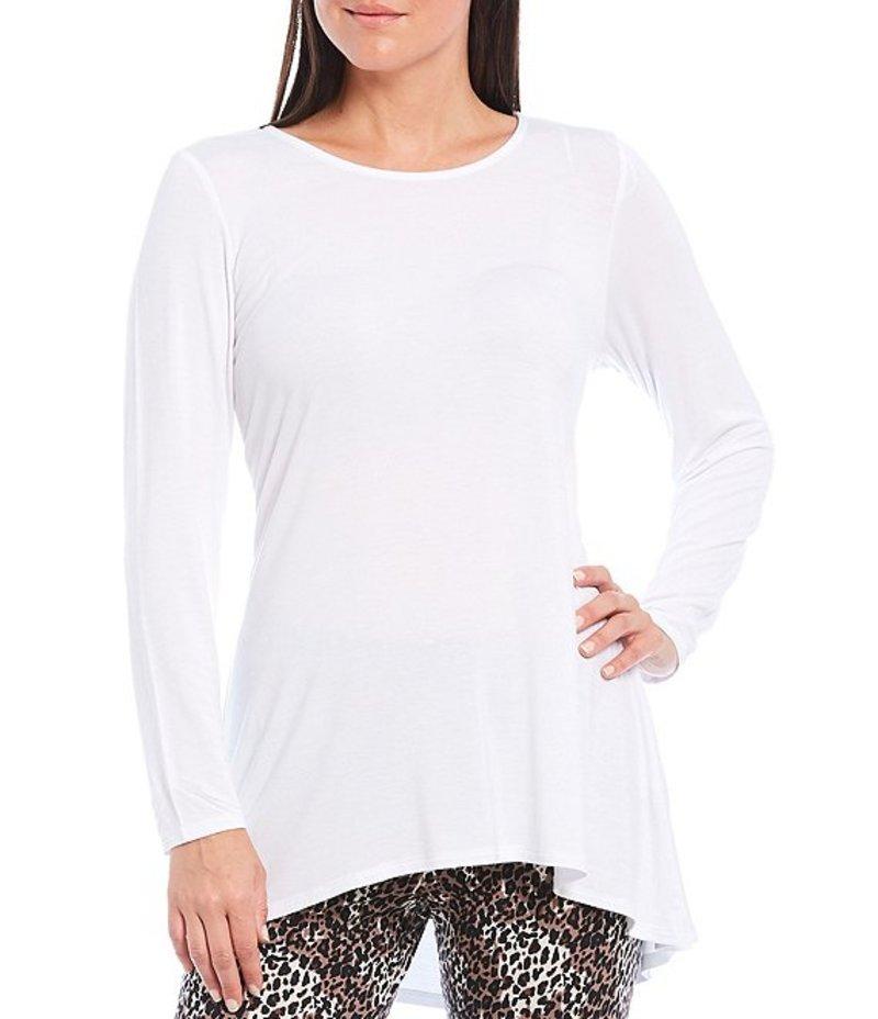 イントロ レディース Tシャツ トップス Long Sleeve Solid Pleat Back Detail Swing Top Bright White