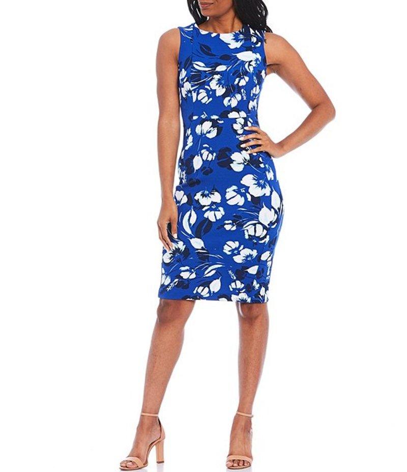 カルバンクライン レディース ワンピース トップス Floral Print Sleeveless Scuba Sheath Dress Regatta Multi
