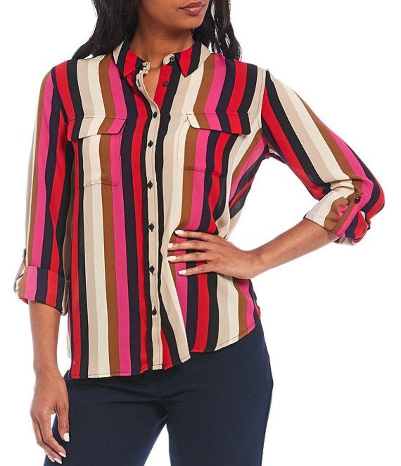 インベストメンツ レディース シャツ トップス Olivia Long Roll-Tab Sleeve Button-Front Striped Utility Blouse Lush Stripe