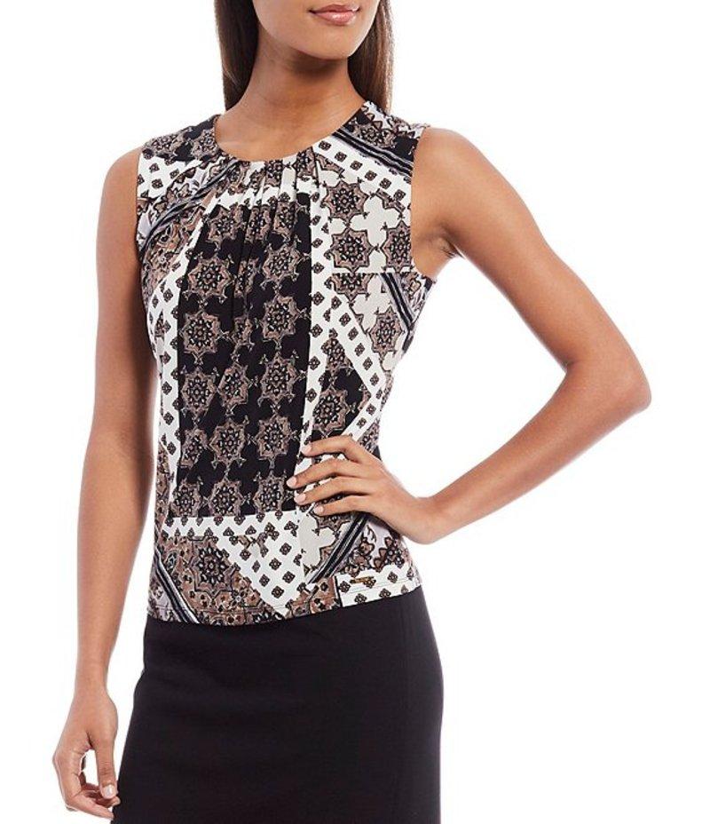 カルバンクライン レディース Tシャツ トップス Patchwork Medallion Print Matte Jersey Pleat Neck Sleeveless Top Khaki Multi