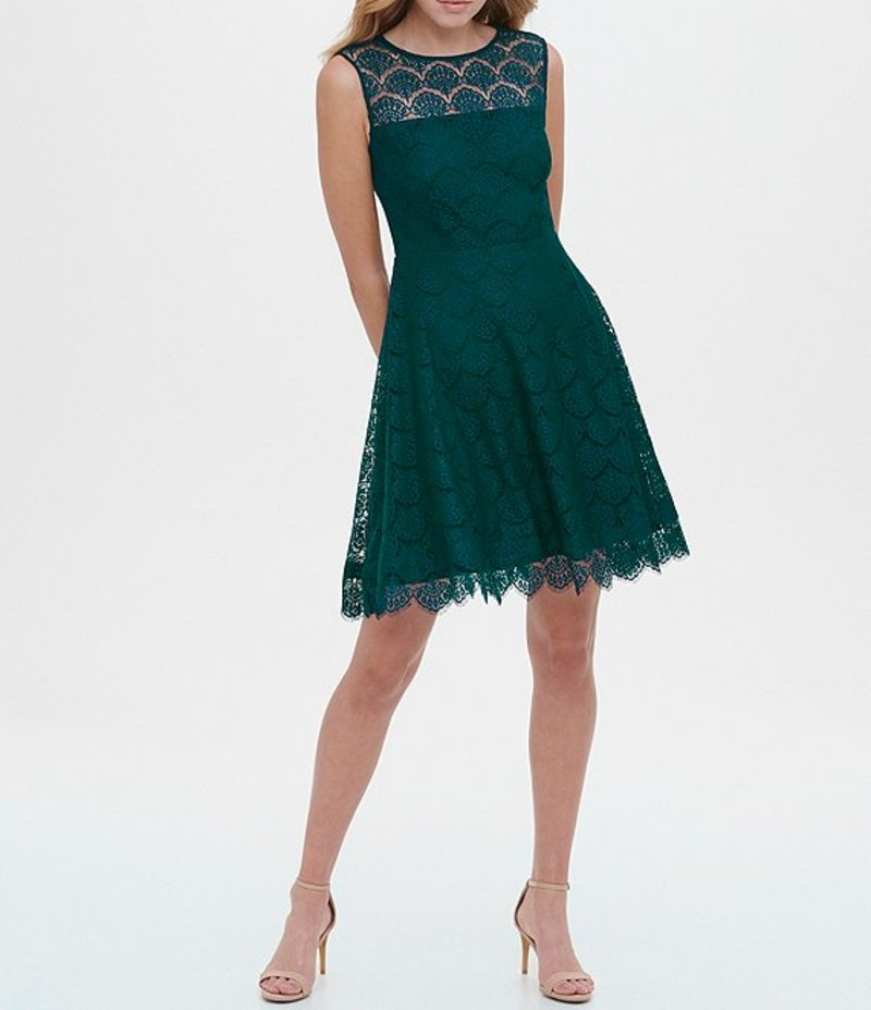 ケンジー レディース ワンピース トップス Illusion Lace Yoke Neck Lace Scallop Hem Dress Emerald