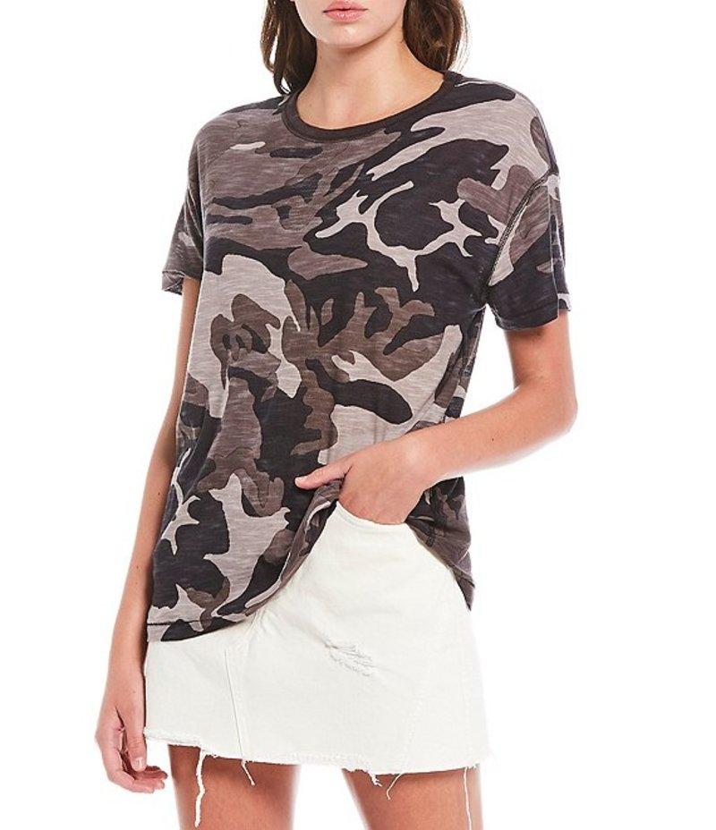 フリーピープル レディース Tシャツ トップス Maybelle Camo Print Cotton Blend Short Sleeve Tee Black Combo