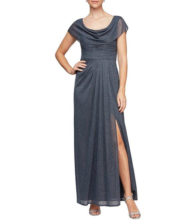 アレックスイブニングス Size トップス Mesh ワンピース レディース Sleeve Cowl Neck Smoke Gown Petite Glitter Short